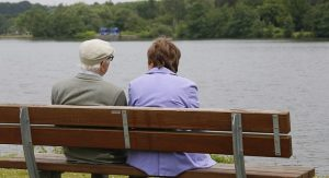 elderly couple in the bench