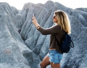 lady taking selfie