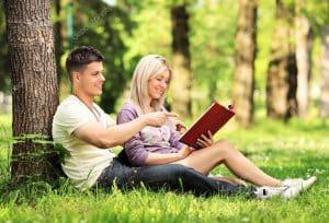 Couple reading novel