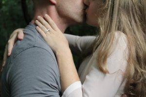 couple passionate kiss