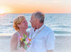 elderly couple beach wedding