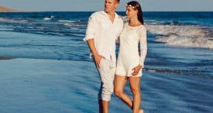 man with his woman in beach
