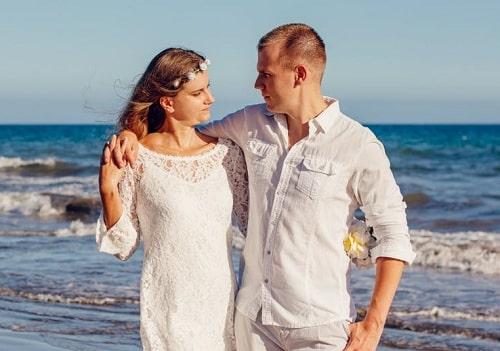 romantic couple in white