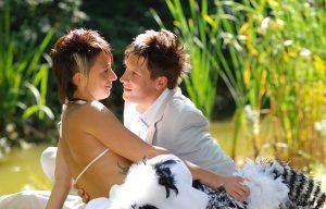romantic wedded couple
