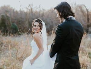 wedded couple enjoying nature